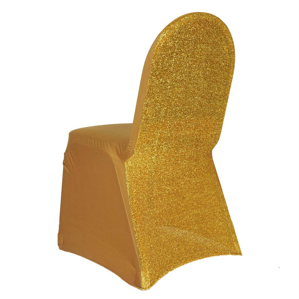 BalsaCircle Metallic Spandex Stretchable Banquet Chair Covers Slipcovers for Party Wedding Reception Decorations