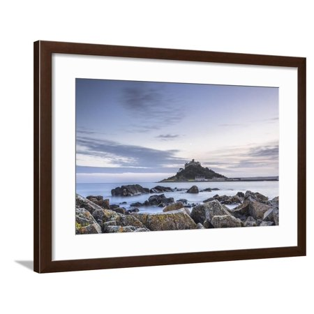 High tide at Mounts Bay in Marazion, Cornwall, England, United Kingdom, Europe Framed Print Wall Art By Julian Elliott