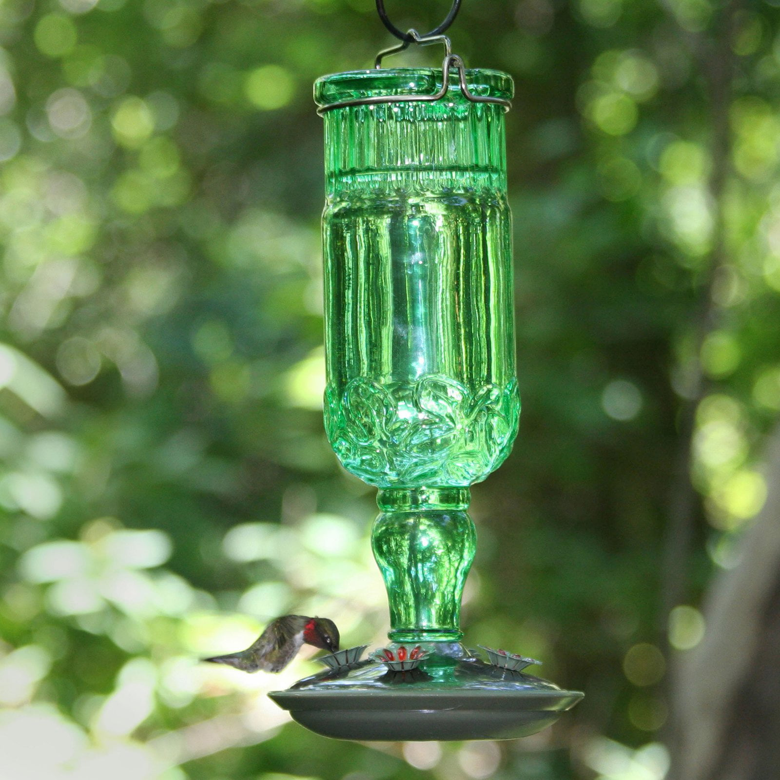 Perky-Pet Green Antique Bottle Glass HummingBirdfeeder by Perky-Pet