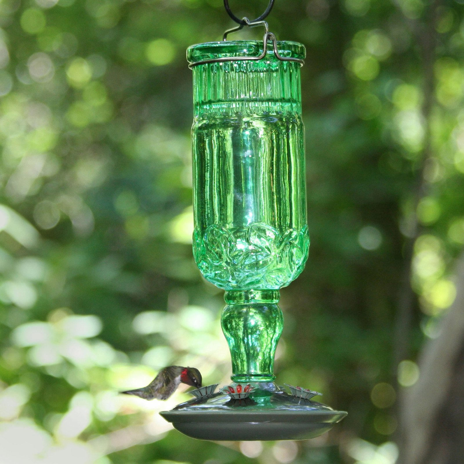 Perky-Pet Green Antique Bottle Glass Hummingbird Feeder