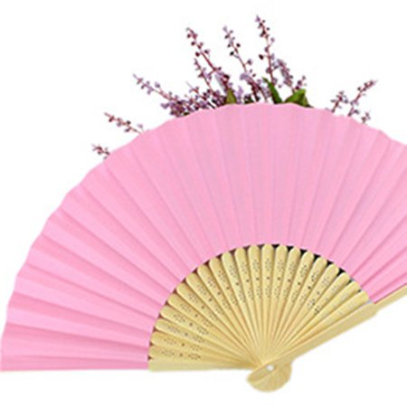 DIY Summer Bamboo Folding Hand Held Fan Chinese Dance Party Solid Color Fan - image 5 de 10