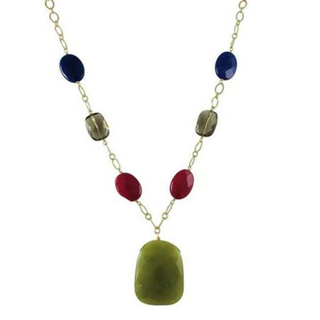 Olive Jade Semi Precious Teardrop Stone & Gold Tone Brass 20 in. Necklace