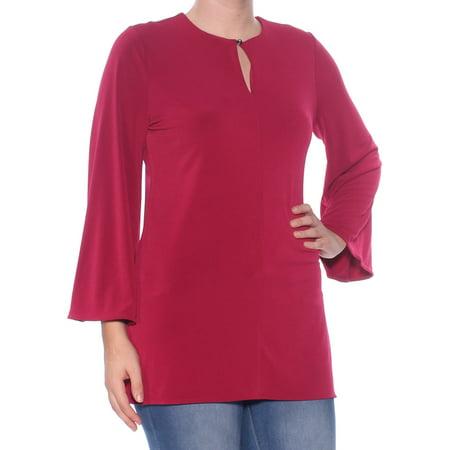RALPH LAUREN Womens Maroon Cut Out Bell Sleeve Jewel Neck Wear To Work Top  Size: - Cut Bell