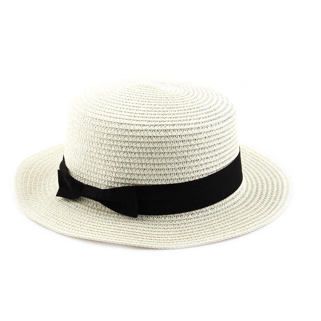 bbad5b611ed Woman Ribbon Decor Wide Brim Braided Summer Beach Straw Cap Sun Hat Off  White