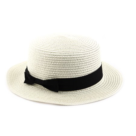 Woman Ribbon Decor Wide Brim Braided Summer Beach Straw Cap Sun Hat Off White