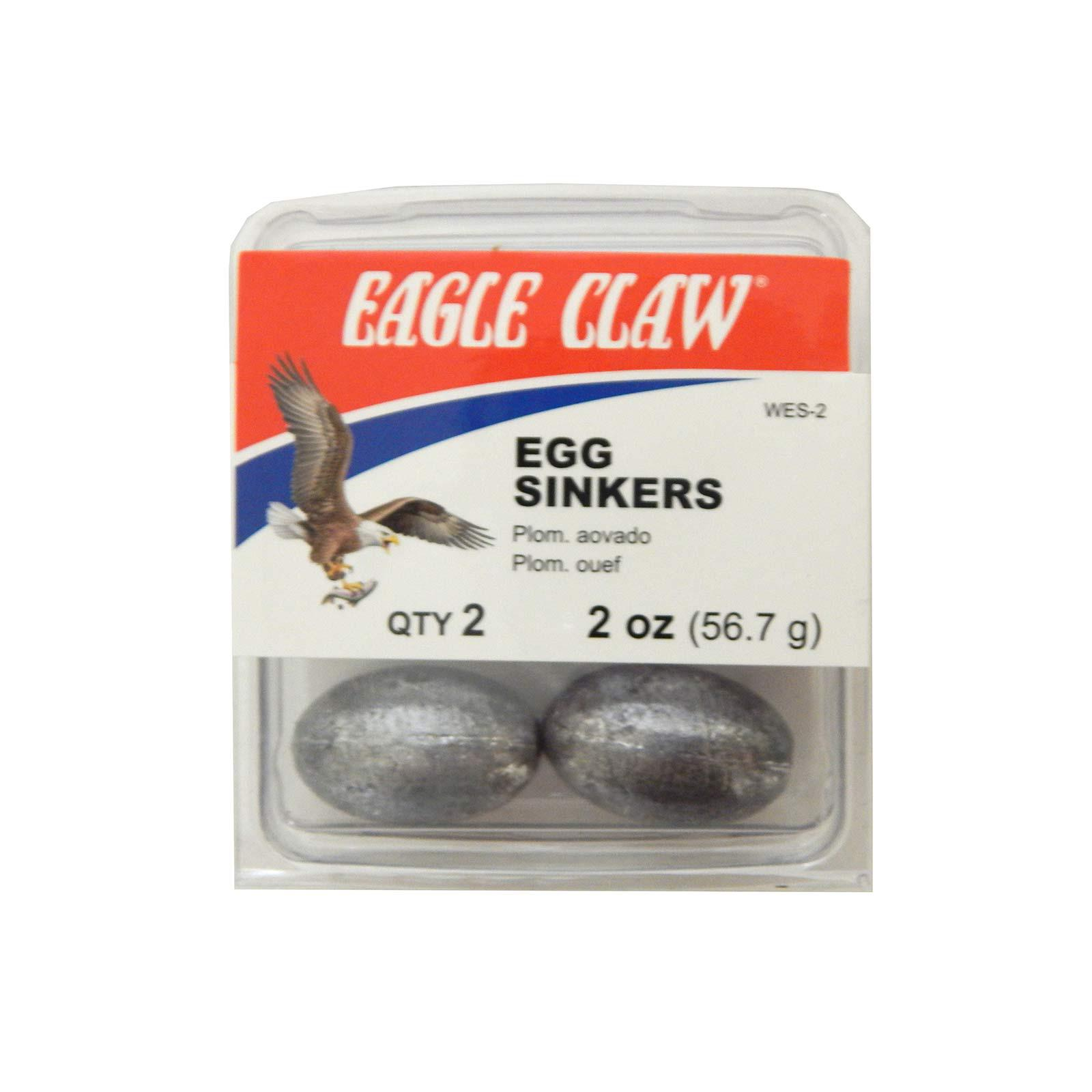 Eagle Claw Egg Sinkers Size 2 Ounce Silver Pack of 2, WES-2