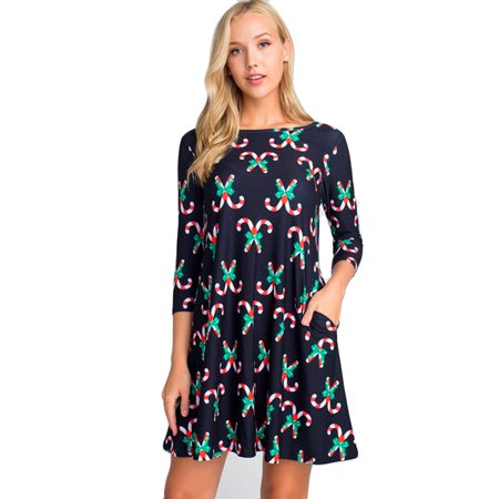 Women's Christmas Candy Canes Prints - Candy Cane Dress
