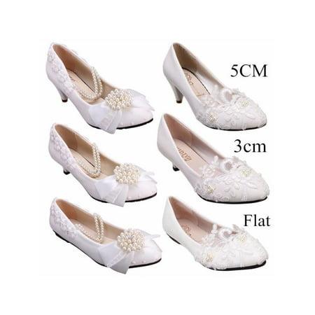Meigar Womens Crystal Wedding Shoes Prom Bridal Bridesmaid Flat High Low Heels shoes
