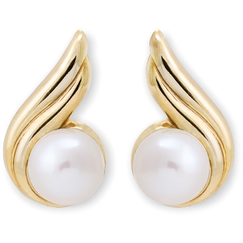 14kt Gold Pearl on a Swirl Stud Earrings