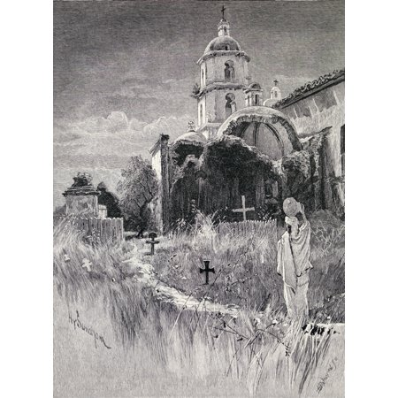 Graveyard And Mission San Luis Rey De Francia California From The Book The Century Illustrated Monthly Magazine May To October 1883 Stretched Canvas - Ken Welsh  Design Pics (12 x (San Luis Rey De Francia Mission Project)