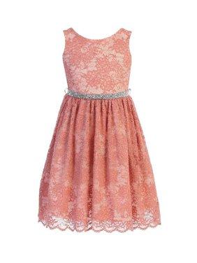 Kids Dream Girls Coral Strech Lace Rinestone Junior Bridesmaid Dress