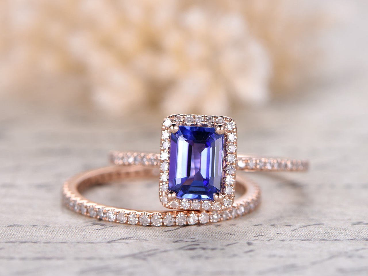 dd48c269019668 Beautiful 1.5 Carat Emerald cut Real Tanzanite and Diamond Wedding Ring Set  with Engagement Ring and Matching Wedding Band in18k Gold Over Silver