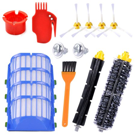 KEEPOW Replacement Parts for Roomba 600 Series 595 614 620 630 650 652 660 680 690 Robotic Vacuum Cleaner (4 Side Brushes,4 Hepa Filters,1 Flexible Beater Brush,1 Bristle Brush,2 Cleaning -
