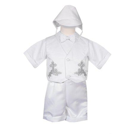 Rain Kids Baby Boys White 4 pc Cross Grapes Vest Hat Baptism Outfit