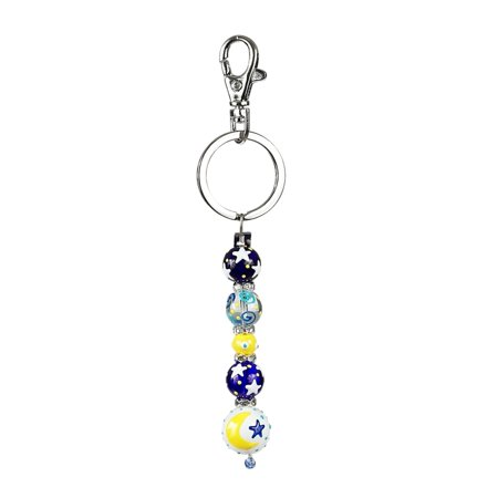 Moon and Stars Rhinestone Glass Beaded Kate and Macy Keychain