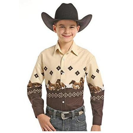 Panhandle Boy's Tan and Brown Horse Snap Button Shirt - C0S7730 (Small (6)) - Panhandle Slim Snap Shirt