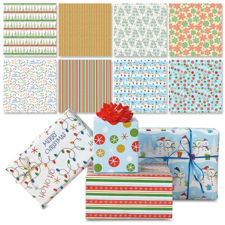 "Christmas Patterns Flat Gift Wrap Value Pack- Set of 8, 22"" by 34"" Holiday Wrapping Paper Sheets, in 8 Designs"