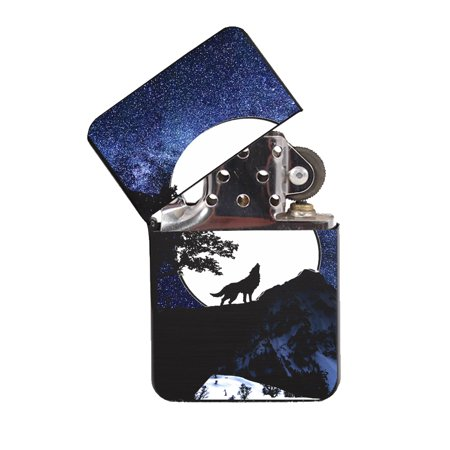 KuzmarK Black Windproof Flip Top Lighter -  Wolf Full Moon Stars