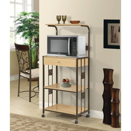 Home Source Microwave Cart W  2 Outlets Mop