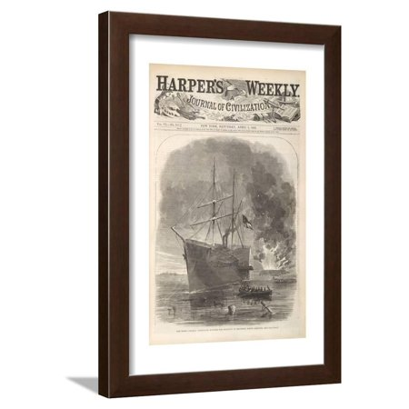 The Rebel (Confederate) Steamer 'Nashville' Running the Blocade at Beaufort, North Carolina Framed Print Wall Art (Black Label Running Rebels)