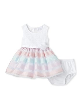 The Children's Place Baby Girl Sleeveless Multi Color Stripe Mesh Dress and Bloomer Set