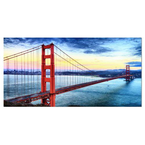 Design Art Golden Gate Bridge in San Francisco Sea Bridge Photographic Print on Wrapped Canvas
