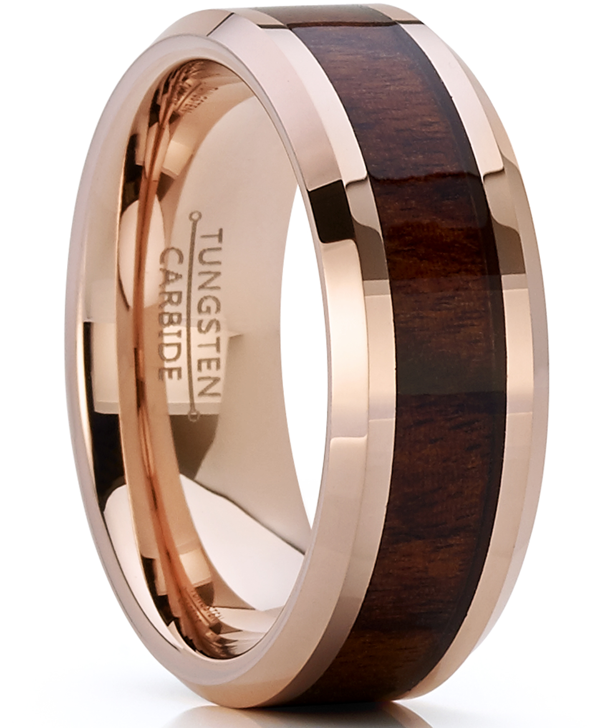 Men Women 8MM Comfort Fit Tungsten Carbide Wedding Band Brown IP Rose Tone Ring