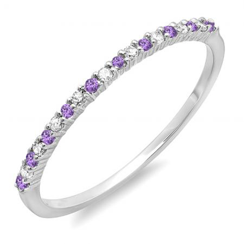 14K Gold Round Amethyst & White Diamond Ladies Anniversary Wedding Band Stackable Ring by DazzlingRock