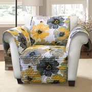 Leah furniture protector, yellow and gray Arm Chair