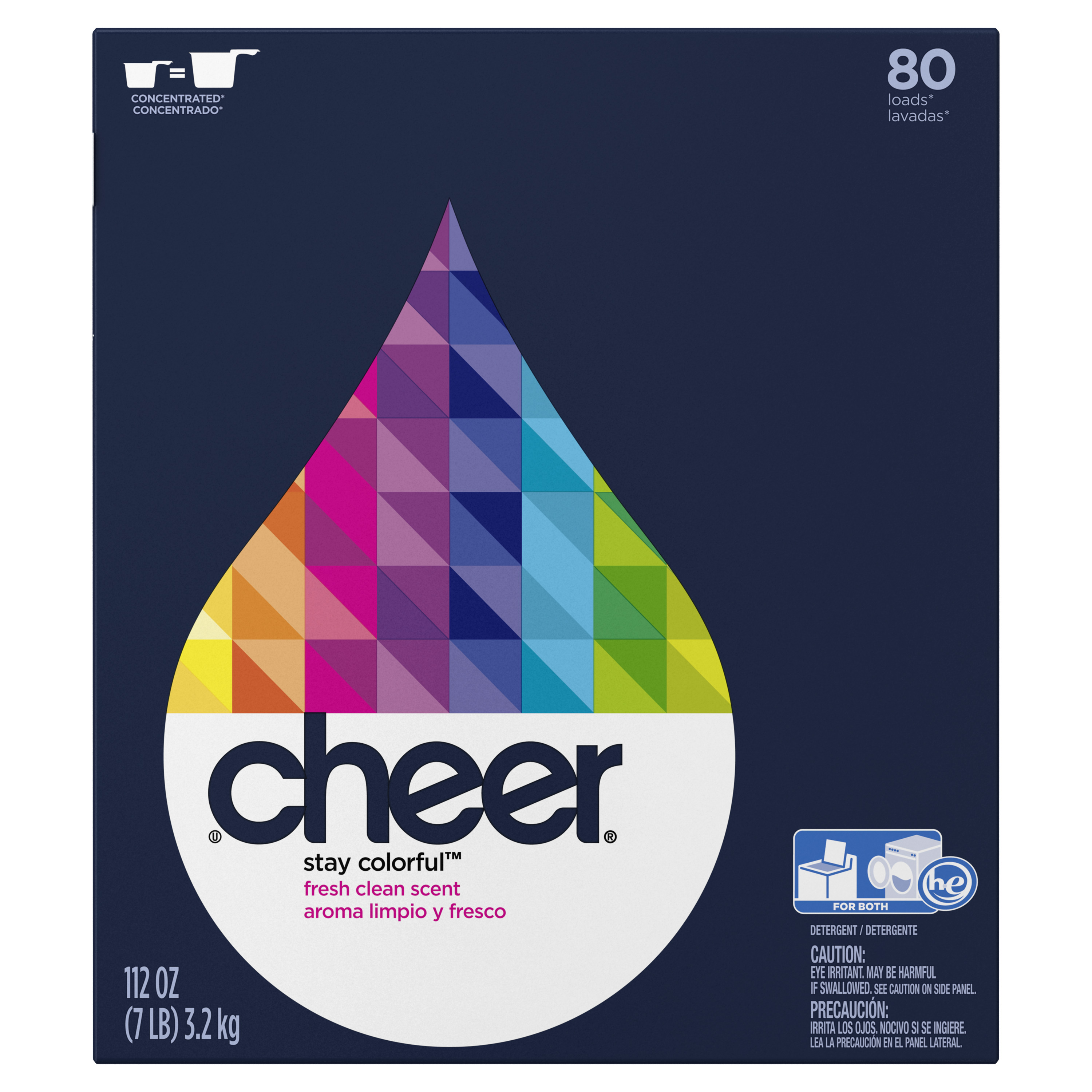 Cheer Powder Laundry Detergent, Fresh Clean, 80 Loads, 112 oz