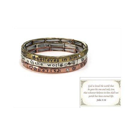 Engraved Religious Bracelet - God So Loved The World That? John 3:16 Inspirational Religious Engraved Bracelet