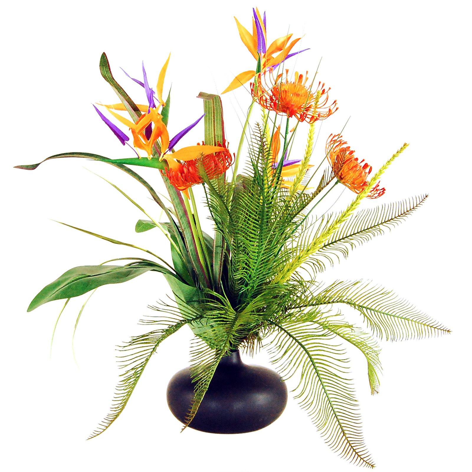 LCG Florals Tropical Garden Silk Flowers with Ceramic Vase - Orange/Purple