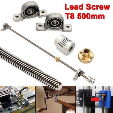 T8 500mm 3D Printer Stainless Steel Lead Screw Coupling Shaft Mounting Support