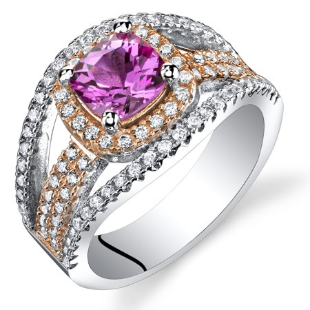 1.25 Carats Cushion Cut Created Pink Sapphire Pave Rose Tone Ring in Sterling Silver