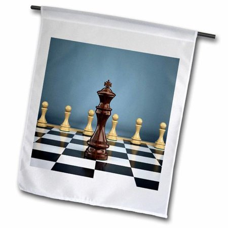 3dRose Chessboard with King Facing Pawns Attack Win Challenge Concept Chess Checker Board Polyester 2'3'' x 1'6'' Garden Flag