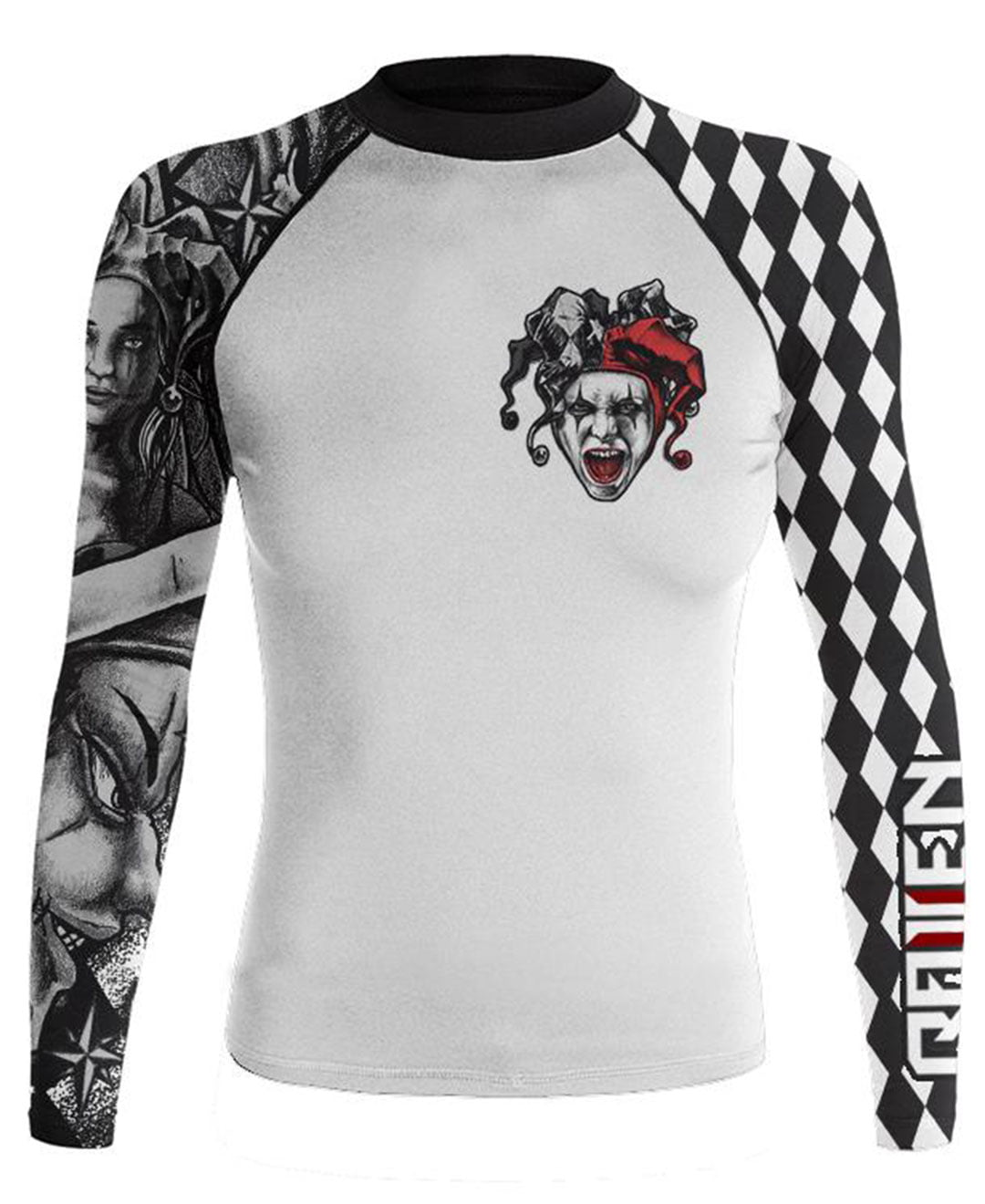 Raven Fightwear Women's The Harlequin Serenity Rash Guard MMA BJJ White by Raven Fightwear