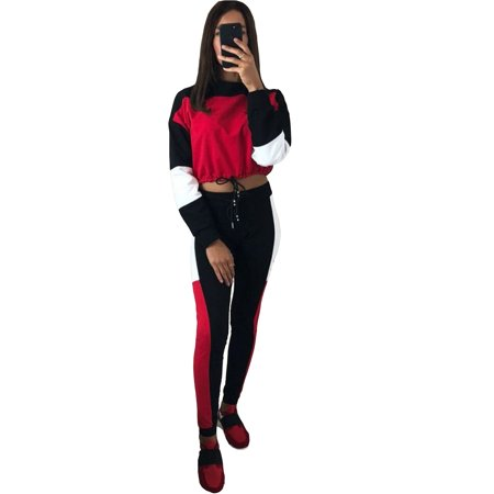 Joker Outfit For Women (Womens 2PCS Tracksuits Set Crew Neck Long Sleeve Sports Activewear Crop Top Sweatshirt Pants Outfits Ladies Joggers Active Loungewear Sportwear Exercise Fitness Workout Casual)