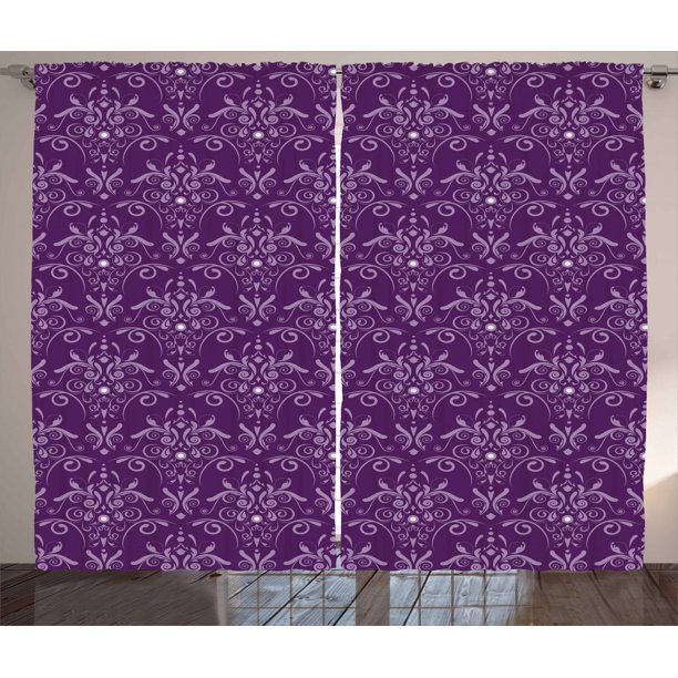 Eggplant Curtains 2 Panels Set Damask Pattern With Symmetrical Abstract Leaves And Swirls Forming Unified Look Window Drapes For Living Room Bedroom 108w X 90l Inches Purple Lilac By Ambesonne Walmart Com