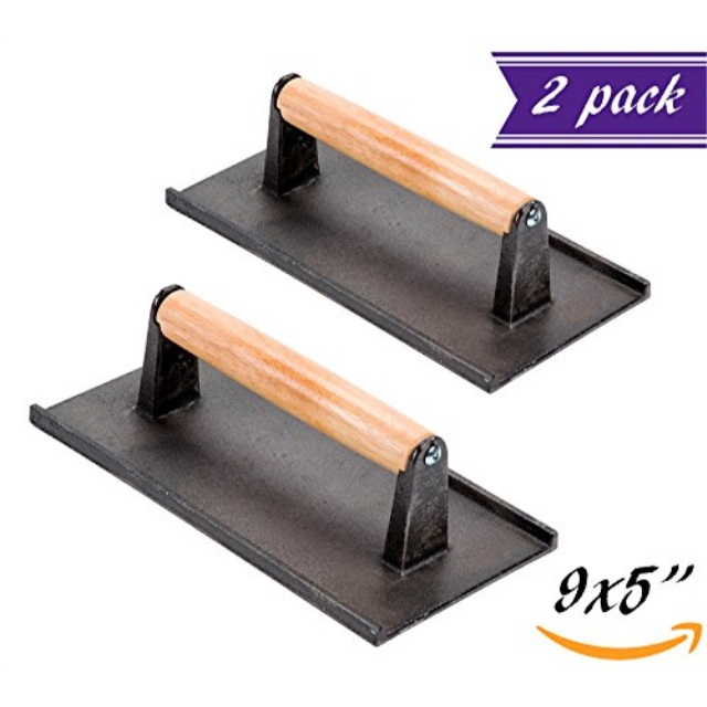 Set of 2 Cast Iron Steak Weight Bacon Press with Wooden Handle, 9 x 5Inch HeavyWeight Grill Press by Tezzorio, Commercial Grade