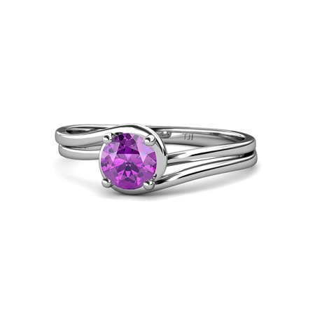 Amethyst Bypass Solitaire Engagement Ring 0.60 ct in 14K White Gold.size 4.5
