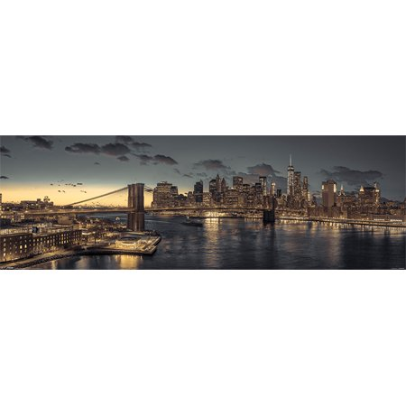 New York City Skyline At Dusk - Mini Photography Door Poster / Print (Manhattan) (Size: 36