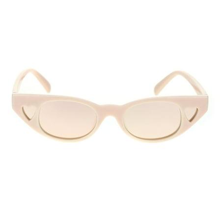 Womens Narrow Cat Eye Heart Shape Side Lens Plastic Sunglasses Beige Pink (Narrow Shape)