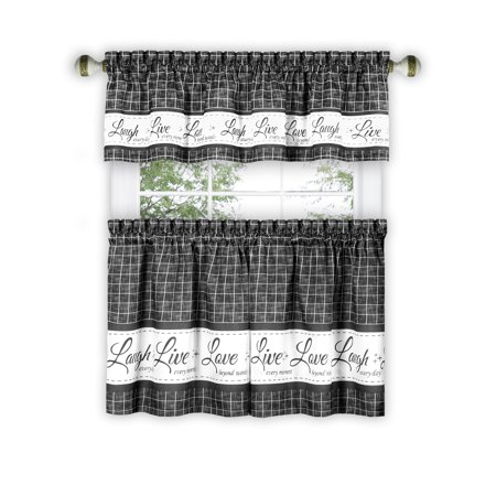 Live Laugh Love 3 Piece Kitchen Curtain Set Charcoal Tiers 58x36 Swag 58x14 Inches Walmart Canada