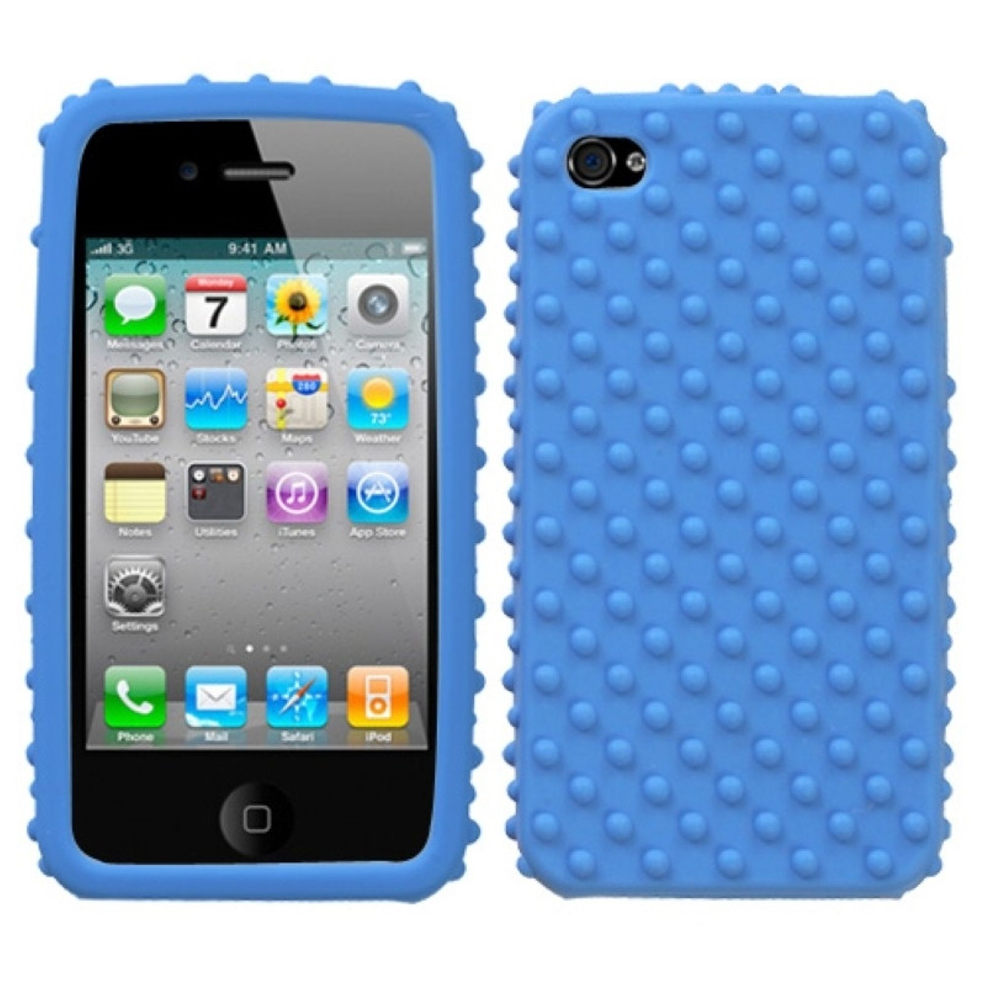 Insten Solid Skin Case (Dark Blue) (w/Dots) For iPhone 4 4S