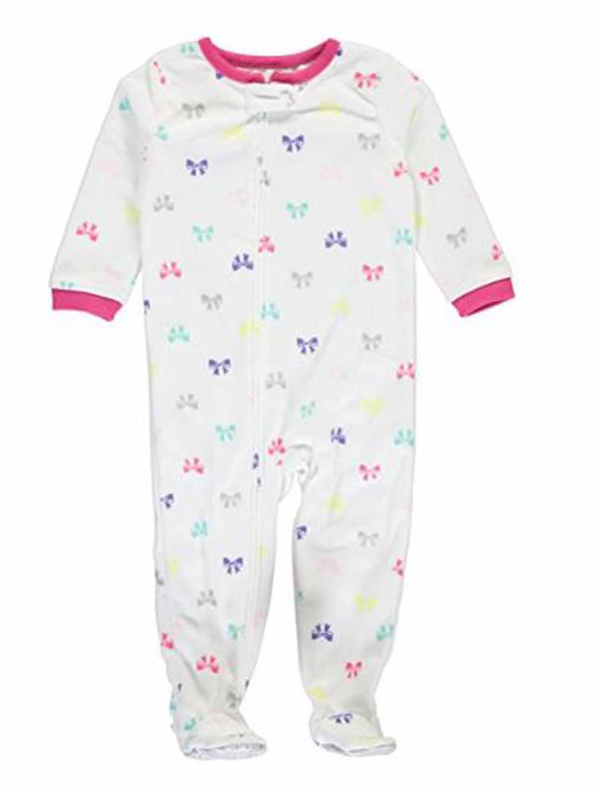 Carters Girls 1 Piece Footed Sleeper Zip Up Fleece Pajama (White/Bows, 4T)