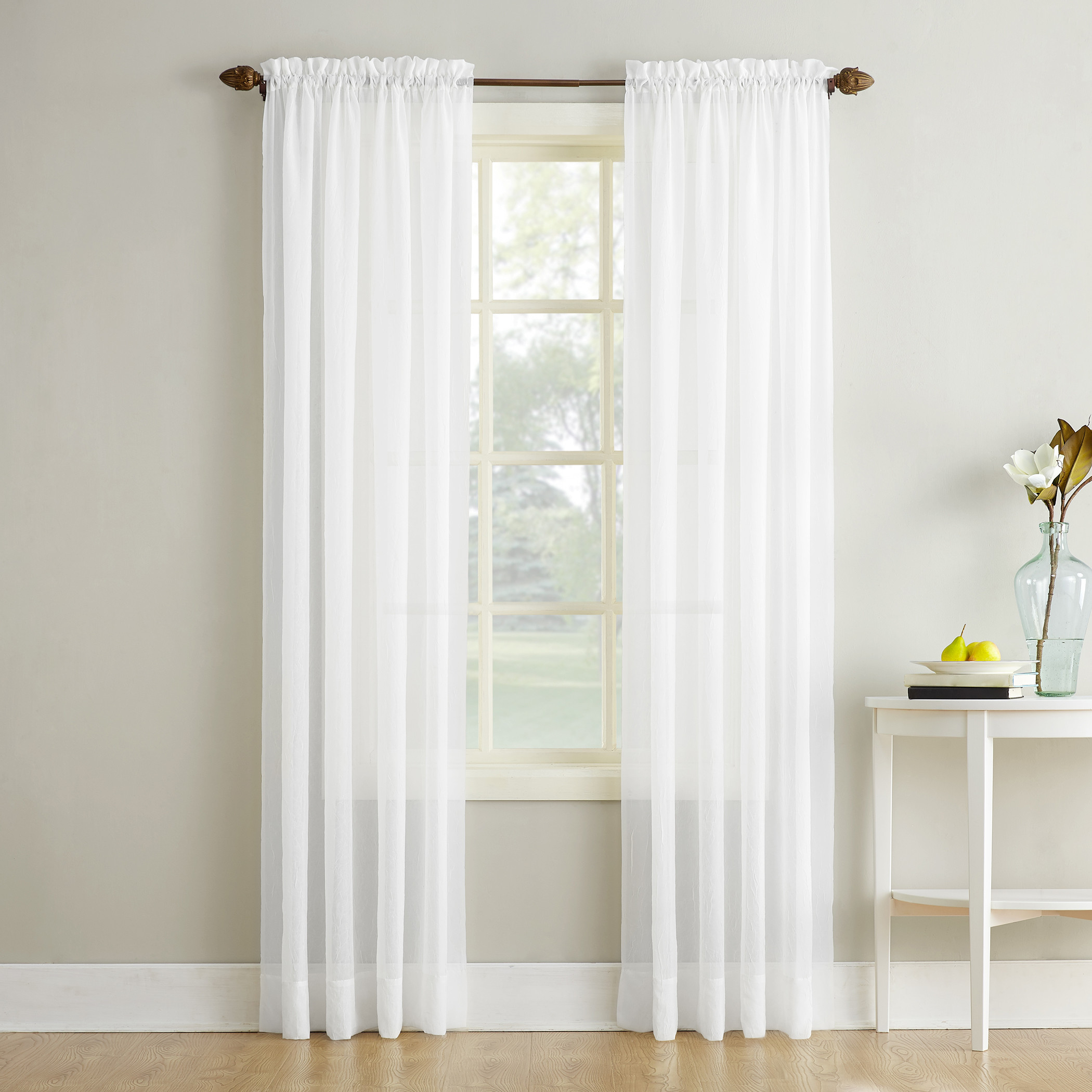 No. 918 Erica Crushed Sheer Voile Rod Pocket Curtain Panel