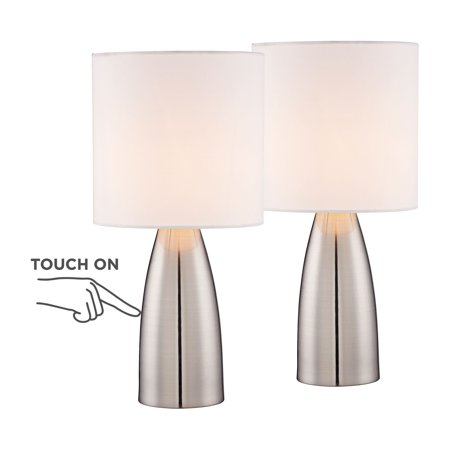 "360 Lighting Modern Table Lamps 14 1/2"" High Set of 2 Touch On Off Switch Silver Metal White Drum Shade for Bedroom Bedside Office"