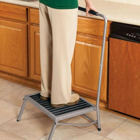 Extra-Wide Folding Step Stool with Handle Cherry Finish Storage Step Stool