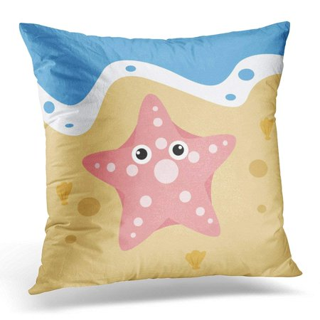 USART Blue Aquatic Cute Starfish in The Sand Cartoon Ocean Animal Collection White Beach Pillow Case Pillow Cover 18x18 inch ()