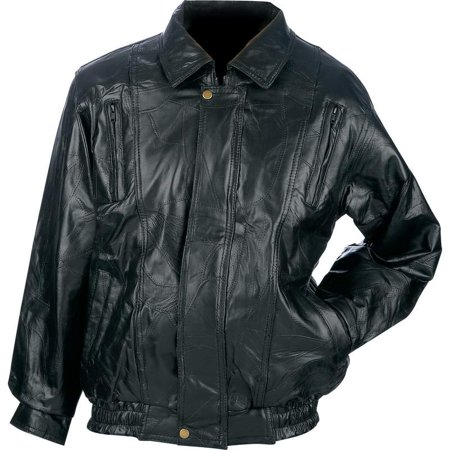 Genuine Lambskin Leather Mens Coat (® Brand Italian Mosaic™ Design Genuine Top Grain Lambskin Leather Jacket - Large - GFCOATL)